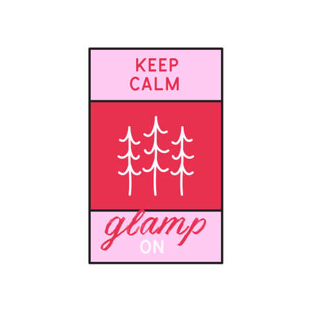 Glamping logo, adventure camp emblem illustration design. Outdoor label with tree and text - Keep calm Glamp on. Unusual linear pink style sticker. Stock vector.