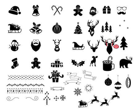 Christmas vector icons and elements set. Silhouette files for cricut bundle woth santa, christmas tree, deer, socks and so on. Holiday symbols for Xmas decor designs. Stock illustration Vettoriali