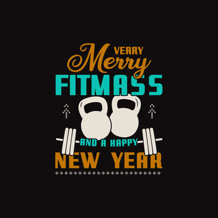 Christmas lettering quote. Silhouette calligraphy poster with quote - Merry fitmass and Happy New Year. With weights, barbell. Illustration for greeting card, t-shirt print, mug design. Stock vector