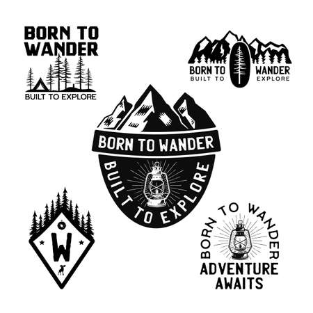 Vintage camp , mountain badges set. Hand drawn travel expedition, wanderlust labels designs. Born to Wander Built to Explore. Outdoor hiking emblems. Logotypes collection. Stock isolated