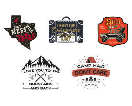 Vintage travel patches set. Hand drawn camping labels designs. Texas, backpacking, surfing. Outdoor hike emblems. Hiking logotypes collection. Stock isolated on white. Archivio Fotografico