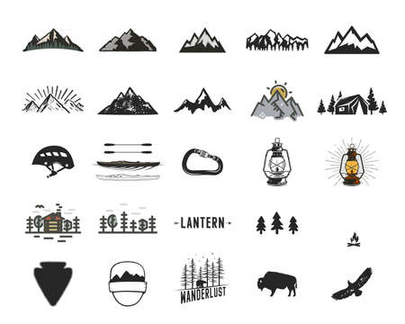 Vintage camping icons and adventure symbols illustrations set. Hiking shapes of mountains, trees, wild animals and others. Retro monochrome design. Can be used for t shirts, prints. Stock Archivio Fotografico - 157882496