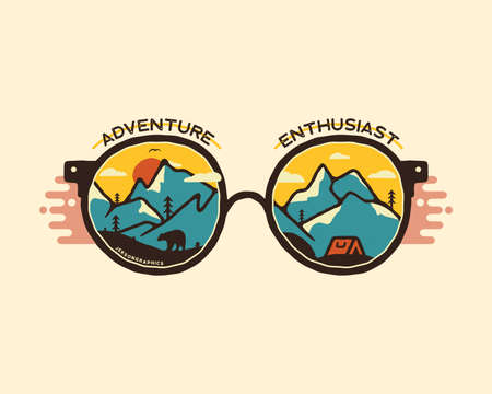 Camping badge illustration design. Outdoor with quote - Adventure enthusiast, for t shirt. Included retro mountains, bear and tent. Unusual hipster style patch. Stock isolated