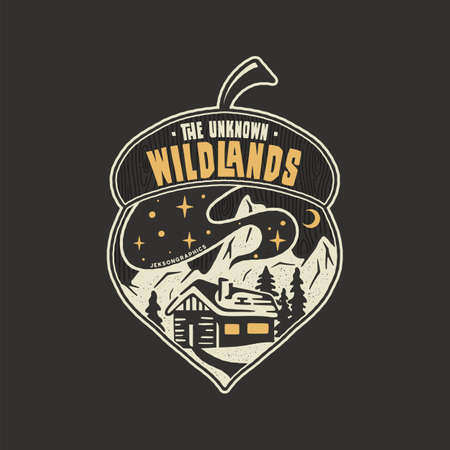 Camping badge acorn illustration design. Outdoor with quote - The unknown wildlands, for t shirt. Included retro mountains, woods house. Unusual hipster style patch. Stock emblem