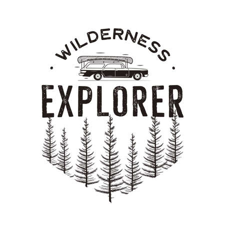 Wilderness Explorer with camp car and pine trees forest. Monochrome outdoors travel emblem patch in retro style. Explorer badge. Stock isolated Archivio Fotografico