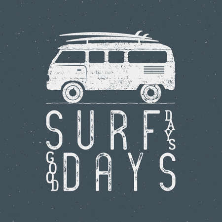 Vintage Surfing Graphics and Poster for web design or print. Surfer banner with van, rv and typography sign - surf days. Old style caravan car for prints, tee, t shirt. Isolate on dark Archivio Fotografico