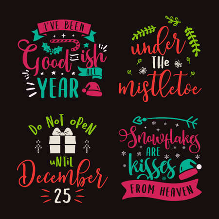 Christmas calligraphy quotes set. Silhouette typography designs for xmas decoration, cards, t shirts, mug, other prints with texts and holiday elements. Stock vector lettering bundle colorful