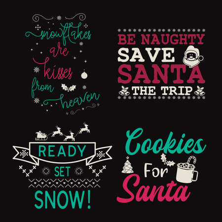 Christmas calligraphy quotes set. Colorful typography designs for xmas decoration, cards, t shirts, mug, other prints with words and holiday elements. Stock vector lettering bundle templates