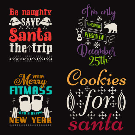 Christmas calligraphy quotes set. Colorful typography designs for xmas decoration, cards, t shirts, mug, other prints with words and holiday symbols. Stock vector lettering bundle