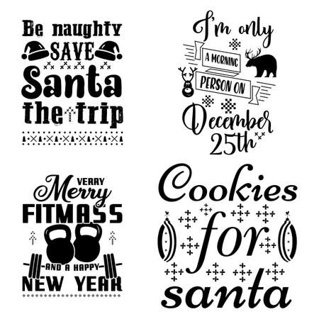 Christmas calligraphy quotes set. Colorful typography designs for xmas decoration, cards, t shirts, mug, other prints with words and holiday symbols. Stock vector lettering bundle isolated Vettoriali