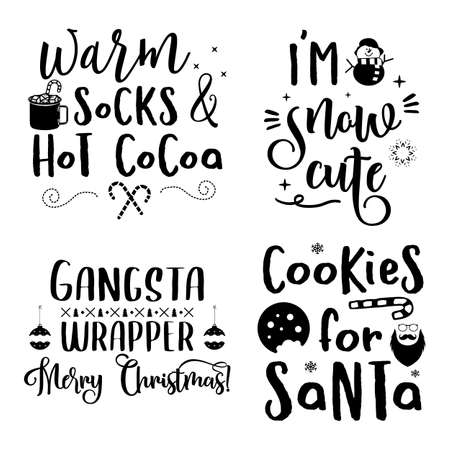 Christmas calligraphy quotes set. Pastel colors typography designs for xmas decoration, cards, t shirts, mug, other prints with words and holiday symbols. Stock vector lettering bundle isolated Vettoriali