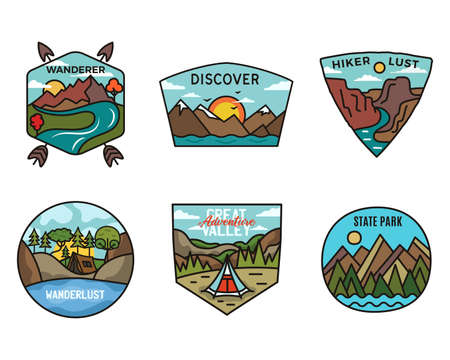 Camping adventure badges logos set, Vintage travel emblems. Hand drawn stickers designs bundle. Discover, hiker lust, scouts labels. Outdoor camper insignias. Logotypes collection. Stock vector.