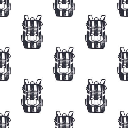 Vintage hand drawn backpacks seamless pattern. Monochrome design for fabric prints, t shirts and others identity. Stock
