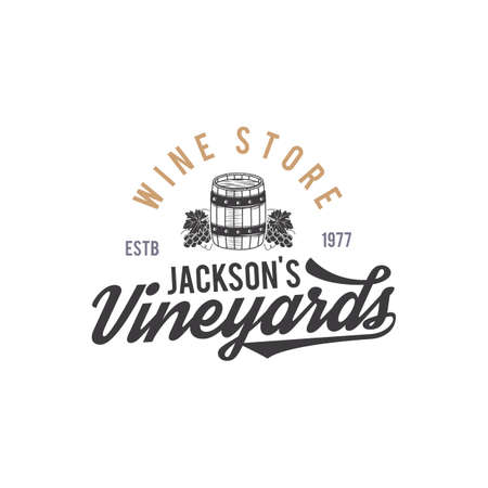 Wine shop logo, label. Organic wines.Vineyard badge. Retro Drink symbol - wine barrel, vines. Monochrome. Typographic design illustration. Stock emblem isolated on white background