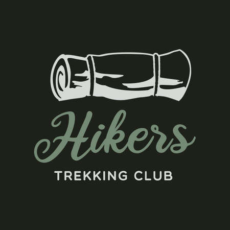 Camping adventure logo emblem illustration design. Vintage Outdoor label with camp mat and text - Hikers Trekking Club. Unusual linear hipster style sticker. Stock vector.