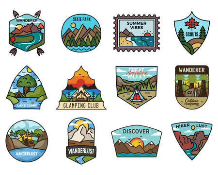 Travel adventure collection, Vintage camping emblems. Hand drawn hiking emblems, mountain stickers designs bundle. Discover, state park badges, scouts labels. Stock vector. Vettoriali