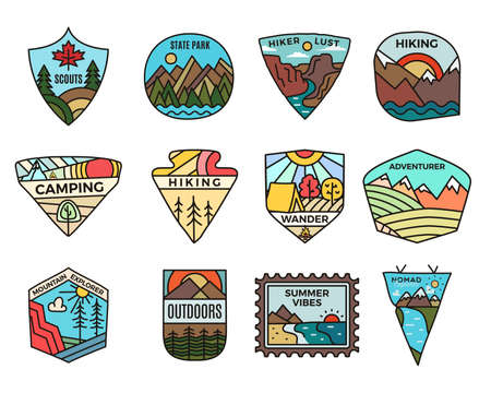 Camping adventure set, Vintage travel emblems. Hand drawn hiking badges, mountain stickers designs bundle. Discover, state park, scouts labels. Outdoor camper insignias. Stock vector.