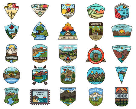 Camping adventure set. Vintage travel emblems. Hand drawn badges stickers designs bundle. Wanderlust, national park, scouts labels. Vetores