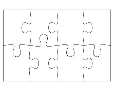 Blank Jigsaw Puzzle 8 pieces. Simple line art style for printing and web. Stock vector illustration Vector Illustration