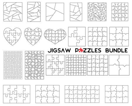 Jigsaw Puzzles Bundle. Simple line art style for printing and web. Silhouette outline style. Stock vector illustration collection