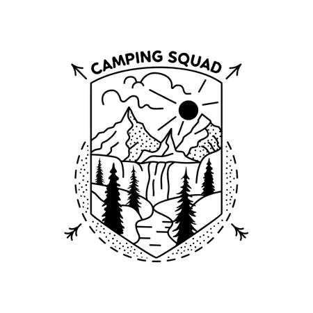 Camping squad badge design. Outdoor adventure crest with mountains scene. Travel silhouette label isolated. Sacred geometry. Stock vector tattoo graphics emblem