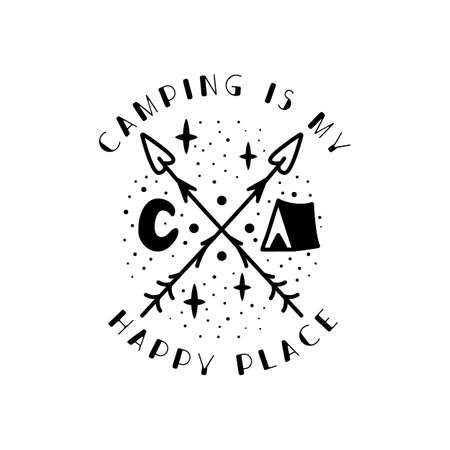 Camping badge design. Camping crest with tent, Luna and quote - Camping is my happy place. Travel label isolated. Sacred geometry. Stock vector tattoo graphics emblem ベクターイラストレーション