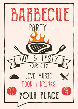Retro Barbecue party flyer. Vintage BBQ poster template design. Summer barbeque editable card. Stock vector illustration Vettoriali