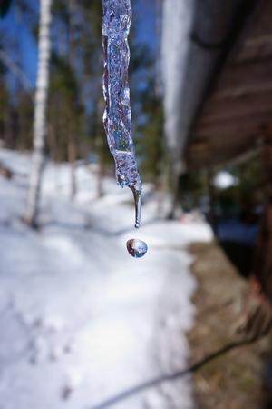 Melting icicle making exclamation mark !