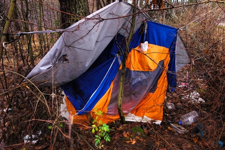 cast off: Abandoned tent in the woods of suburban Helsinki
