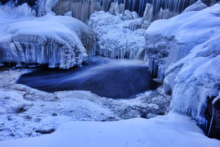 Frozen waterfall (Vanhankaupungin putous) on river Vantaanjoki in Helsinki, Finland.