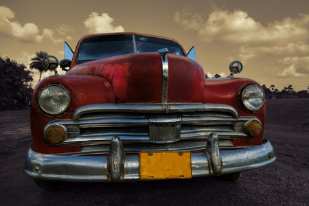 A beautiful old Cuban car spotted and captured on a parking lot nearby Vinales Cuba Editorial
