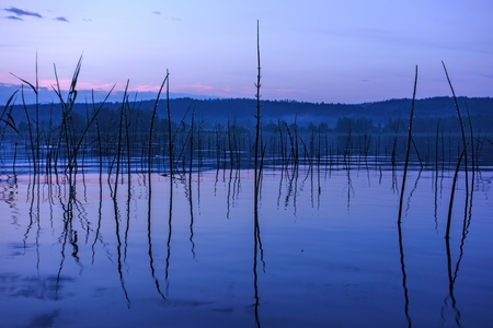 Serene and misty summer lake in Nokia, Finland after heavy rain storm in late evening during a blue hour