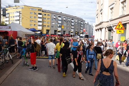 suomi: Helsinki, Finland - August 1, 2015 - People partying and enjoying closure of one of the busiest streets in Helsinki at the fifth Kallio Block Party Editorial