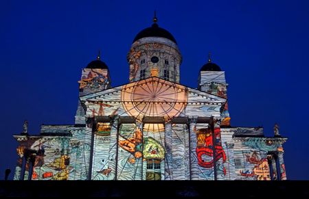 lux: Helsinki, Finland - January 4, 2013 : Video projection Emergence by Casa Magica displayed on the exterior of Helsinki Cathedral at Lux Helsinki light arts festival in January 2013. Editorial