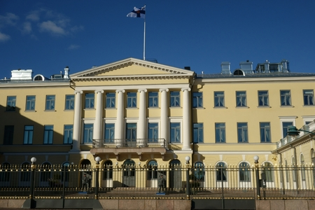receptions: Helsinki, Finland, October 8, 2015 - The Presidential Palace Presidentinlinna in Finnish in the center of Helsinki, Finland is the official residency of the President of the Republic of Finland. It is also venue for many receptions and high level social e