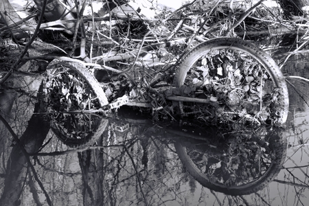 cast off: Abandoned rusty bicycle frame and wheels in a small river in Western Helsinki, Finland in late February winter afternoon.