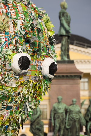 made in finland: Unidentified people observing Meren elämät installation by Choi Jeong Hwan at the Night of the Arts festival featuring various marine creatures made out of recycled plastic bags on 25 August 2016 at the Senate Square in Helsinki, Finland. Editorial
