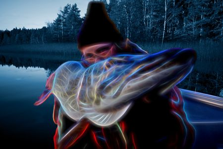 Male sports fisherman with a large size pike catch with futuristic and artistic neon editing in outdoors setting by the Baltic Sea. Stock Photo