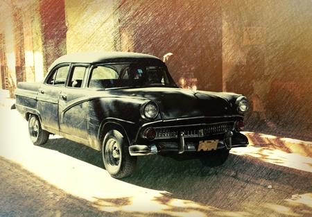 쿠바, 하바나 -2013 년 12 월 27 일 : 쿠바, 하바나의 거리에 고전적인 미국의 차 화려한 건물 앞에 주차.
