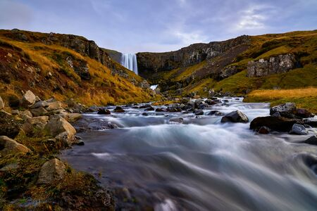 Dramatic Svodufoss waterfall with water of river Laxa dropping ten meters is located in Olafsvik Snaefellsnes which is peninsula in Western Iceland. Here photographed in early October 2019. Standard-Bild - 137129946