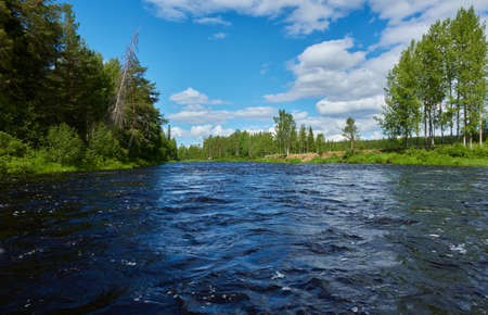 Naamijoki river in Western Lapland in Pello, Finland nearby where the river is joining Tornionjoki to which it is a tributary river. Standard-Bild