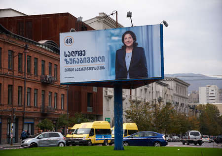 Tbilisi, Georgia - October 24, 2018: Large size campaign poster / billboardin down Tbilisi for independent candidate Salome Zurabishvili at first round of the presidential elections in Georgia. Editorial