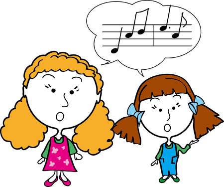 lesson girls singing notes clever music study two art learning school