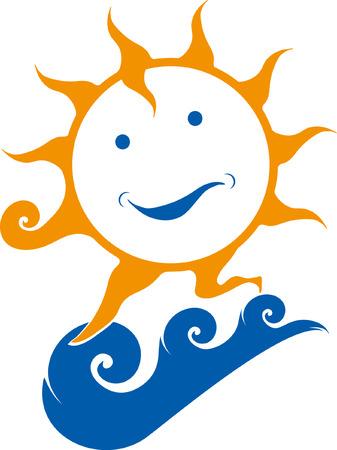 sun on wave Illustration