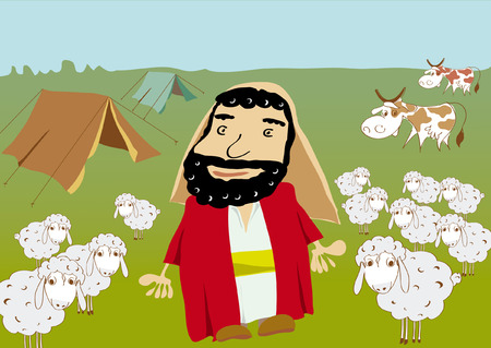 Abraham and flock of sheeps cows