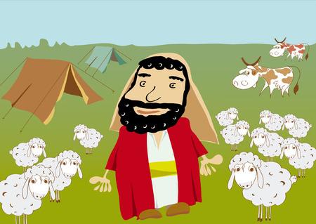 Abraham et le troupeau de moutons vaches