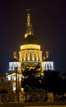 orthodox church at night Stock Photo