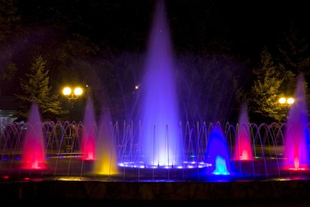 colored fountain at night