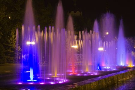 colorred fountain 3 at night Stock Photo
