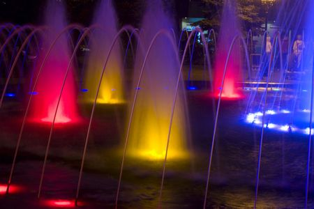 colored fountaine at night
